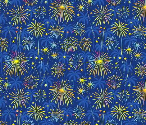 Hawaiian Fireworks with palm trees fabric by heleen_vd_thillart on Spoonflower - custom fabric