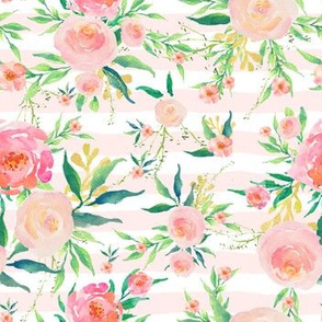 """7"""" Pink Stripes with Elephant Florals"""