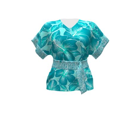 Hibiscus Batik Teal on Aqua 150
