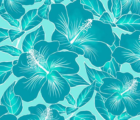 Hibiscus Batik Teal on Aqua 150 fabric by kadyson on Spoonflower - custom fabric