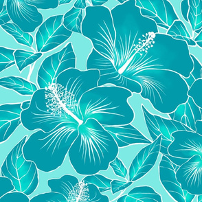 Hibiscus Batik Teal on Aqua 150