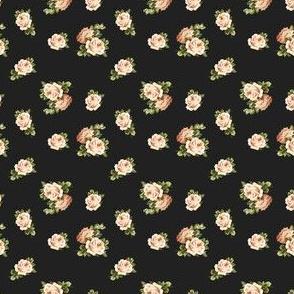 """2"""" Vintage Tea Roses / Black"""