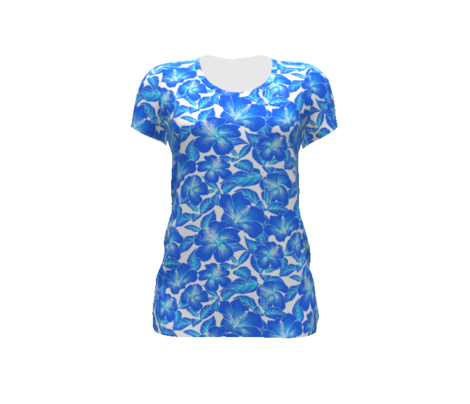 Hibiscus Batik Blue on White 300