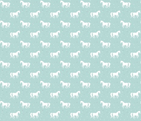 White Horse Silhouettes on Duck Egg fabric by hazel_fisher_creations on Spoonflower - custom fabric
