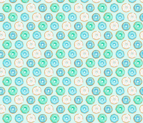 Iced Donuts Blue on light mint - 1.5 inch donuts fabric by hazel_fisher_creations on Spoonflower - custom fabric
