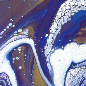 Gold, Blue, White fluid artwork