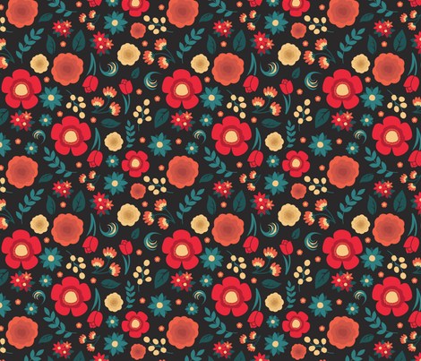 Red, Salmon, and Teal Blossoms fabric by kristawelter on Spoonflower - custom fabric