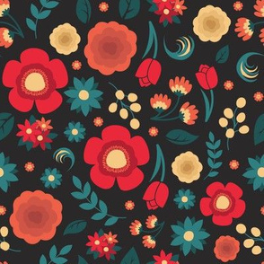 Red, Salmon, and Teal Blossoms
