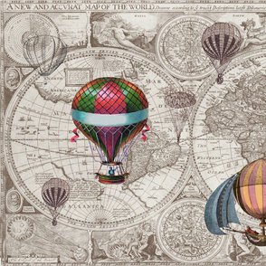 Map with Hot Air Balloons