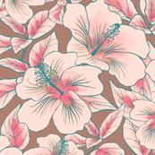 Hibiscus Batik Pink on Tan 150
