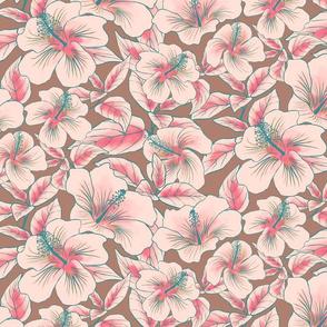 Hibiscus Batik Pink on Tan 300