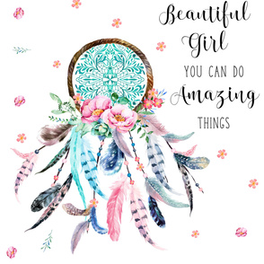 "56""x72"" Beautiful Girl You Can Do Amazing Things / Pink & Aqua"