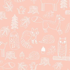 woodland animals // woodland autumn critters animals hand-drawn andrea lauren fabric - blush and white