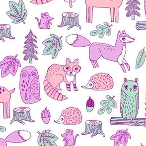 woodland animals // woodland autumn critters animals hand-drawn andrea lauren fabric - pastel