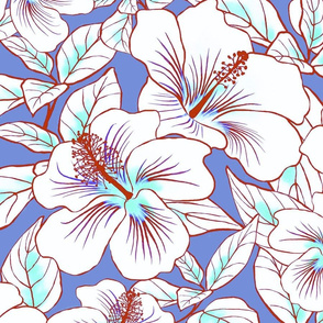 Hibiscus Batik White on Periwinkle 150