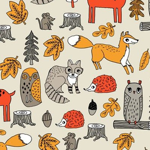 woodland animals // woodland autumn critters animals hand-drawn andrea lauren fabric - retro colors