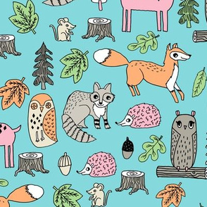 woodland animals // woodland autumn critters animals hand-drawn andrea lauren fabric - blue and pink