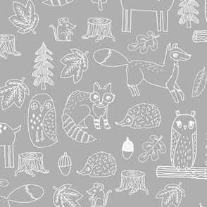 woodland animals // woodland autumn critters animals hand-drawn andrea lauren fabric - grey