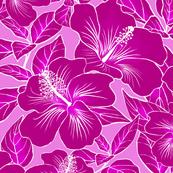 Hibiscus Batik Magenta on Pink 150