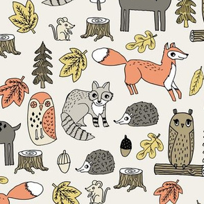 woodland animals // woodland autumn critters animals hand-drawn andrea lauren fabric - tan
