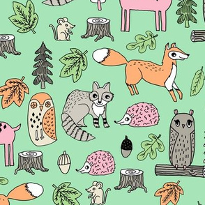 woodland animals // woodland autumn critters animals hand-drawn andrea lauren fabric - mint