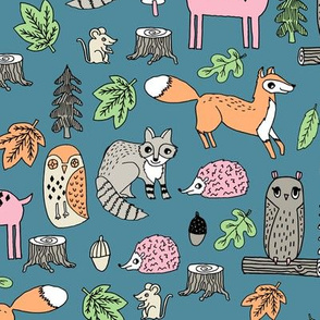 woodland animals // woodland autumn critters animals hand-drawn andrea lauren fabric - blue