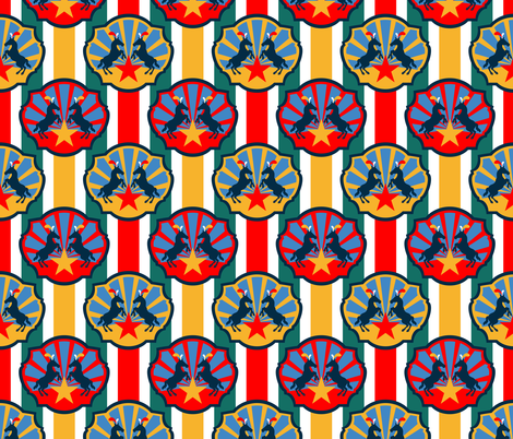 Circus Ponies and Stars with Multi Stripes fabric by anderson_designs on Spoonflower - custom fabric