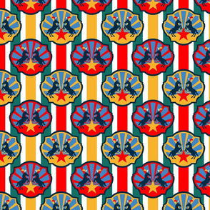 Circus Ponies and Stars Multi Stripes Red and Gold