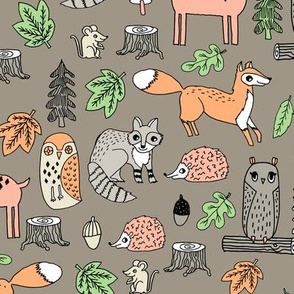 woodland animals // woodland autumn critters animals hand-drawn andrea lauren fabric - brown