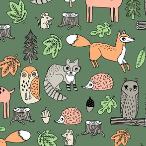 woodland animals // woodland autumn critters animals hand-drawn andrea lauren fabric - green
