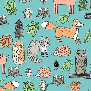 woodland animals // woodland autumn critters animals hand-drawn andrea lauren fabric - light blue