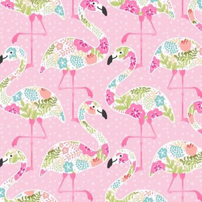 Flowery Pink Flamingo Summer