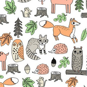 woodland animals // woodland autumn critters animals hand-drawn andrea lauren fabric - white
