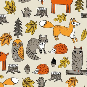 woodland animals // woodland autumn critters animals hand-drawn andrea lauren fabric - woodland