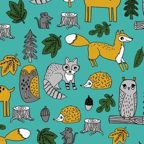 woodland animals // woodland autumn critters animals hand-drawn andrea lauren fabric - turquoise and yellow