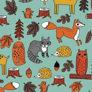woodland animals // woodland autumn critters animals hand-drawn andrea lauren fabric - fall colors