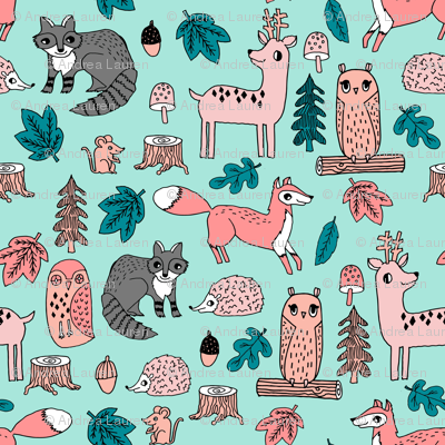 woodland animals // woodland autumn critters animals hand-drawn andrea lauren fabric - pink and teal