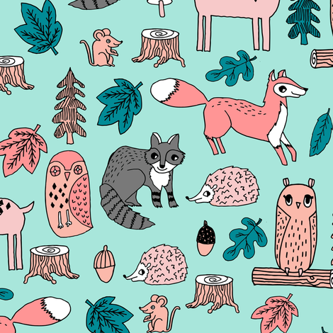 woodland animals // woodland autumn critters animals hand-drawn andrea lauren fabric - pink and teal fabric by andrea_lauren on Spoonflower - custom fabric