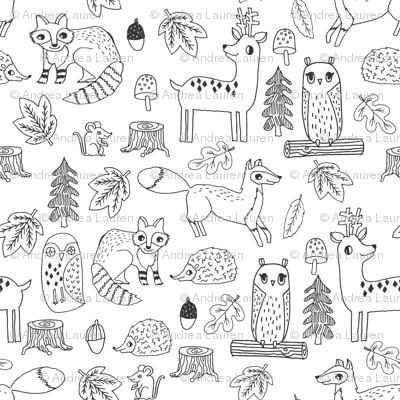 woodland animals // woodland autumn critters animals hand-drawn andrea lauren fabric - black and white