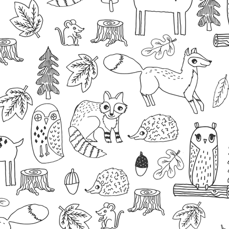 woodland animals // woodland autumn critters animals hand-drawn andrea lauren fabric - black and white fabric by andrea_lauren on Spoonflower - custom fabric