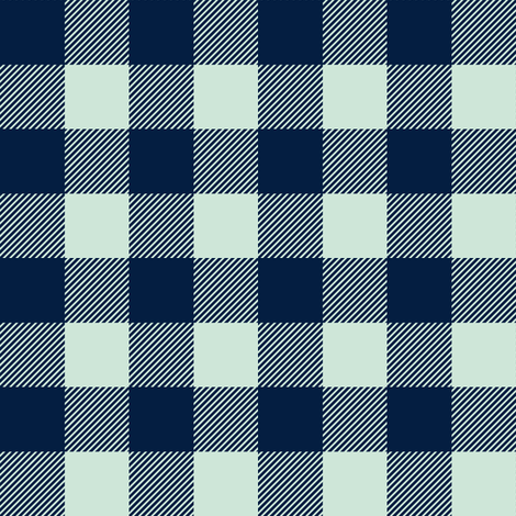 "buffalo plaid 1"" - navy and mint fabric by littlearrowdesign on Spoonflower - custom fabric"