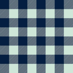 "buffalo plaid 1"" - navy and mint"