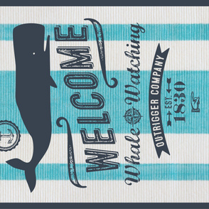 Whale Watching Minky Blanket or Canvas_