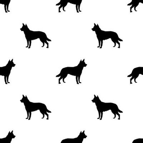 Australian Kelpie silhouette fabric white and black