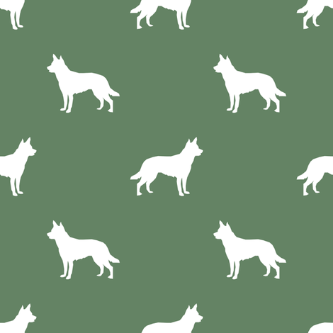 Australian Kelpie silhouette fabric med green fabric by petfriendly on Spoonflower - custom fabric