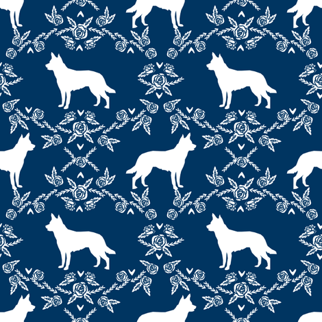 Australian Kelpie Floral Silhouette fabric navy fabric by petfriendly on Spoonflower - custom fabric