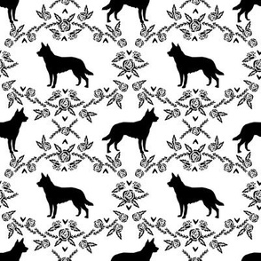 Australian Kelpie Floral Silhouette fabric black and white