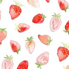 Strawberry Watercolor || Red Summer Fruit Food Large 4th of July Miss Chiff Designs