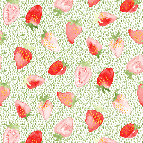 Strawberry Strawberries Watercolor Green || Red Summer Fruit 4th of July Miss Chiff Designs fabric by misschiffdesigns on Spoonflower - custom fabric