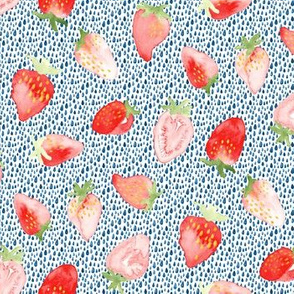 Strawberry Watercolor Red White Blue 4th of July || Fruit summer food boho